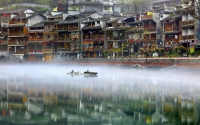 river, China, reflection, water, house, nature