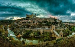 city, sunset, Spain, river, bridge, Toledo