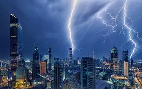 storm, night, lightning, Kuwait City, architecture, landscape