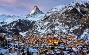 mountains, snow, city, landscape, Zermatt, lights
