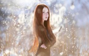 girl, redhead, long hair, freckles