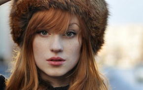 redhead, green eyes, looking at viewer, girl, Alina Kovalenko, fluffy hat