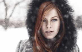 girl, redhead, winter, freckles