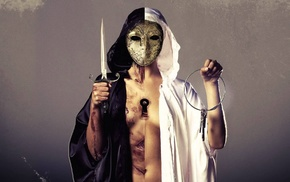 Bring Me the Horizon, rock music, rock bands, mask, knife