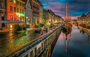 reflection, canal, cobblestone, photography, Copenhagen, old building