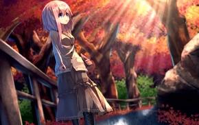 fall, kagayan, anime, original characters, long skirt