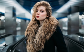fur, blonde, long hair, girl, Russian, model