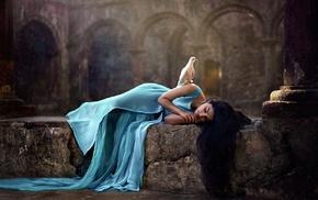 Indian, girl, long hair, blue dress, dove, pillar