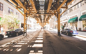 sunlight, street, symmetry, urban, Chicago