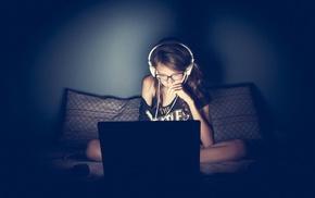 headphones, girl, glasses, laptop, geek