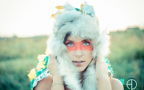 face paint, looking at viewer, fluffy hat, girl, green eyes