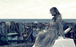 girl, dress, fantasy art, girl outdoors, sea