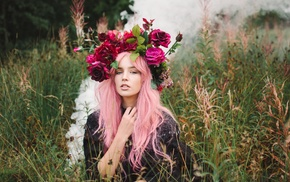 looking at viewer, girl outdoors, flowers, pink hair, model, wreaths