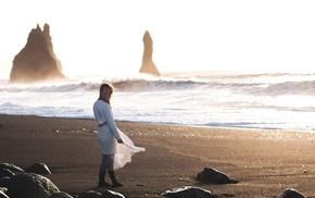 beach, girl outdoors, waves, white dress, girl, model