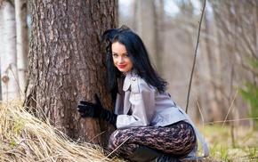 pantyhose, trees, model, girl outdoors, girl