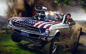 Ronald Reagan, USA, revolver, artwork, car