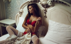 model, girl, spread legs, red bra, brunette, in bed
