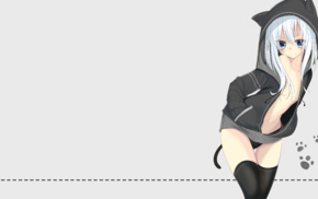 anime, hoods, original characters, open shirt, white hair, cat girl