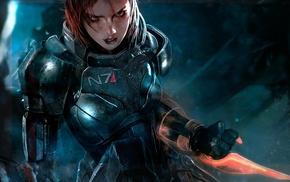 Commander Shepard, Fem Shep, video game characters, blue, space, Mass Effect