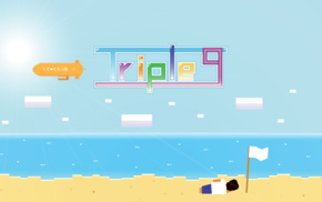 alone, beach, pixels, summer, androids, vector art