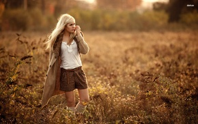 field, girl, blonde