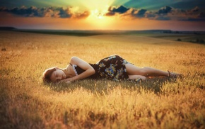 girl, lying down, summer  dress, field