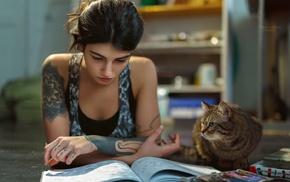 books, tattoo, cat, girl, introvert
