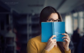 girl, books, glasses, girl with glasses, library