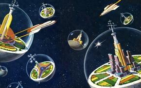 digital art, science fiction, universe, spaceship, building, antenna