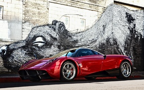 graffiti, Pagani, wall, red cars, artwork, bricks