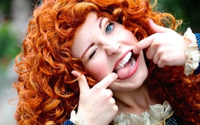 Brave, humor, tongues, cosplay, looking at viewer, redhead