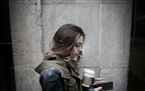 girl, smoking, coffee
