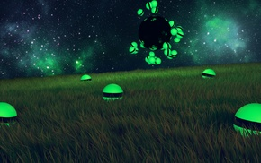 space, Cinema 4D, field, Photoshop, grass, sphere