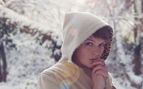rings, girl, winter, tattoo, snow