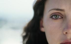 green eyes, girl, looking at viewer, brunette