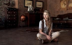 Alice Tarasenko, girl indoors, long hair, sitting, girl, depth of field