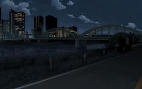 landscape, bridge, city, anime, night
