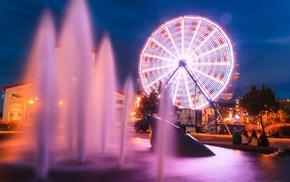 ferris wheel, night, city, fountain, long exposure