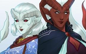 white hair, tiefling, Critical Role, Zahra, Lillith Daturai, fan art