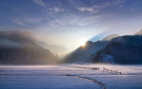 sun rays, sunlight, winter, Germany, mist, mountains