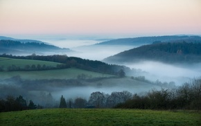 hills, Germany, morning, nature, trees, landscape