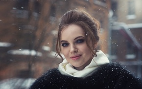 depth of field, winter, hazy, snow, smoky eyes, juicy lips