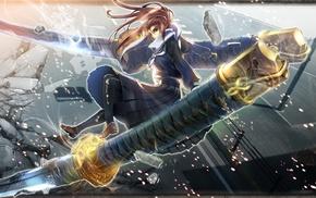 katana, original characters, sword, school uniform