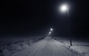 night, snow, winter, lamp, road