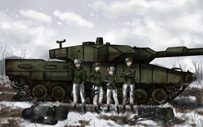 tank, original characters, anime, winter