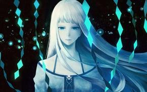 white hair, diamonds, anime, original characters, blue, anime girls