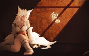 original characters, white dress, white hair, kitsunemimi, anime