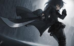 original characters, anime, black, sword, knife, anime girls