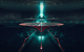 Portal game, digital art, CGI, blue