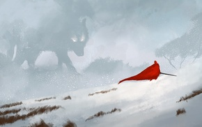 Red Riding Hood, red, snow, sword, wolf